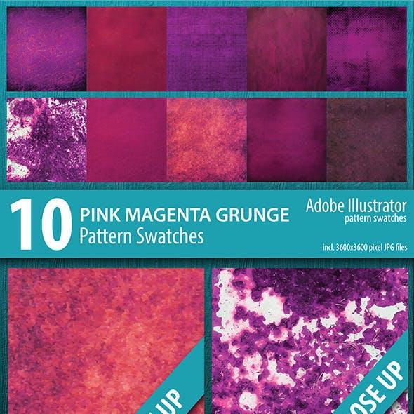 10 Pink Magenta Grunge Texture Pattern Swatches