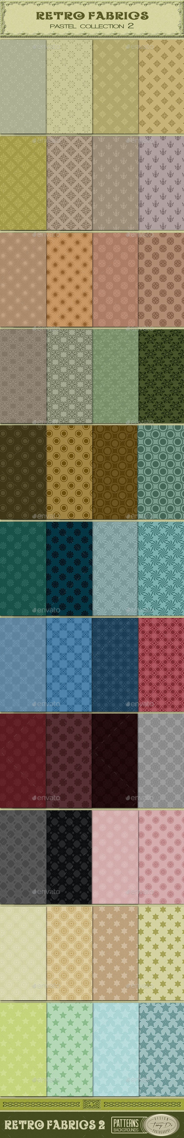 Retro Fabric Pastel Collection 2 - Patterns Backgrounds
