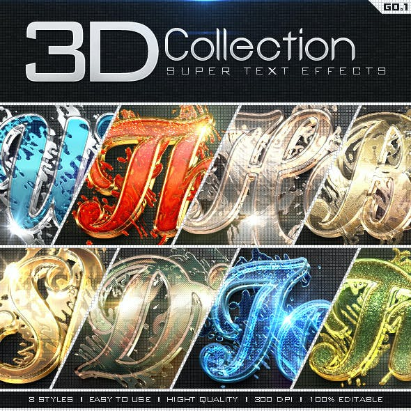 Super 3D Collection Text Effects GO.1