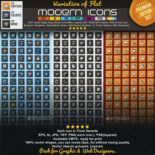 Modern Flat Icons Pack