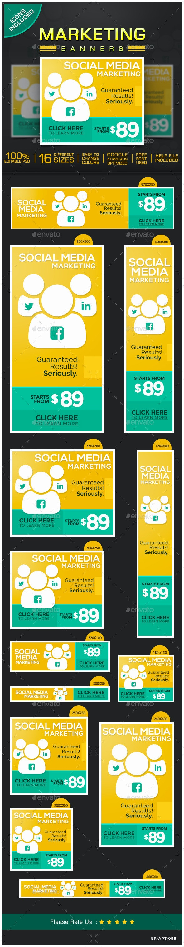 Marketing Web Banner Design Set - Banners & Ads Web Elements