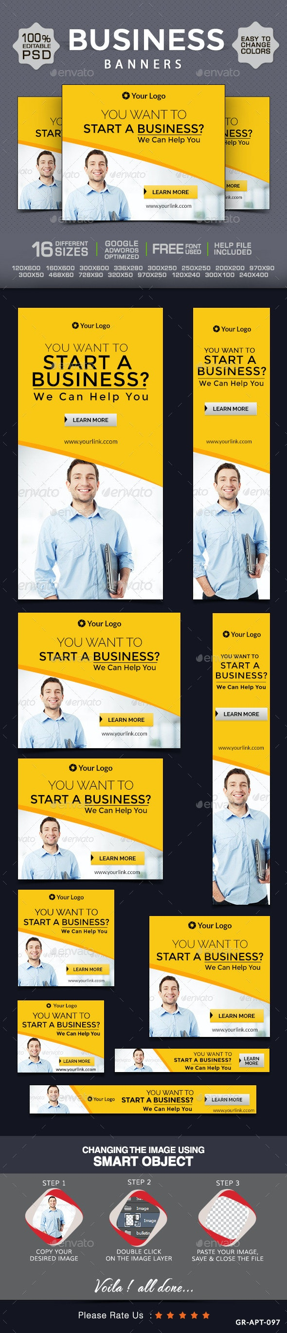 Business Web Banner Design Set - Banners & Ads Web Elements