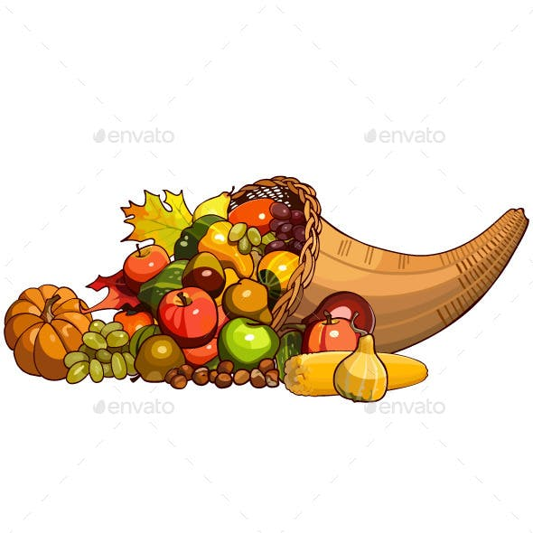 Wicker Basket with Autumn Fruits