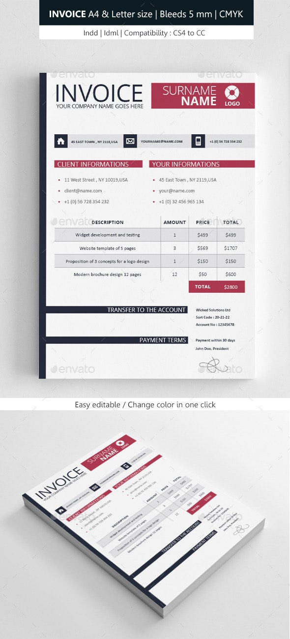 Clean Invoice Template - Proposals & Invoices Stationery