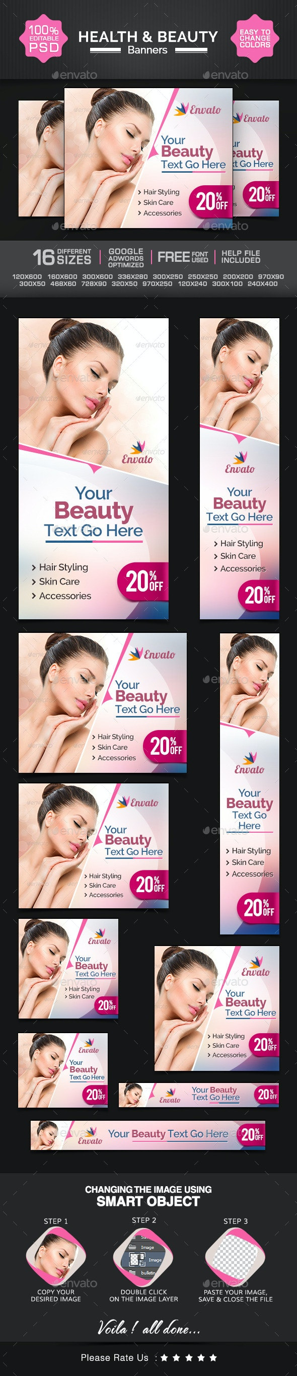 Health & Beauty Banners - Banners & Ads Web Elements