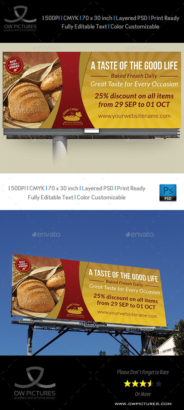Bakery Billboard Banner Template - Signage Print Templates