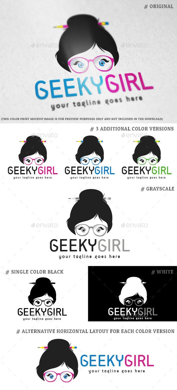 Geeky Girl Logo Template - Humans Logo Templates