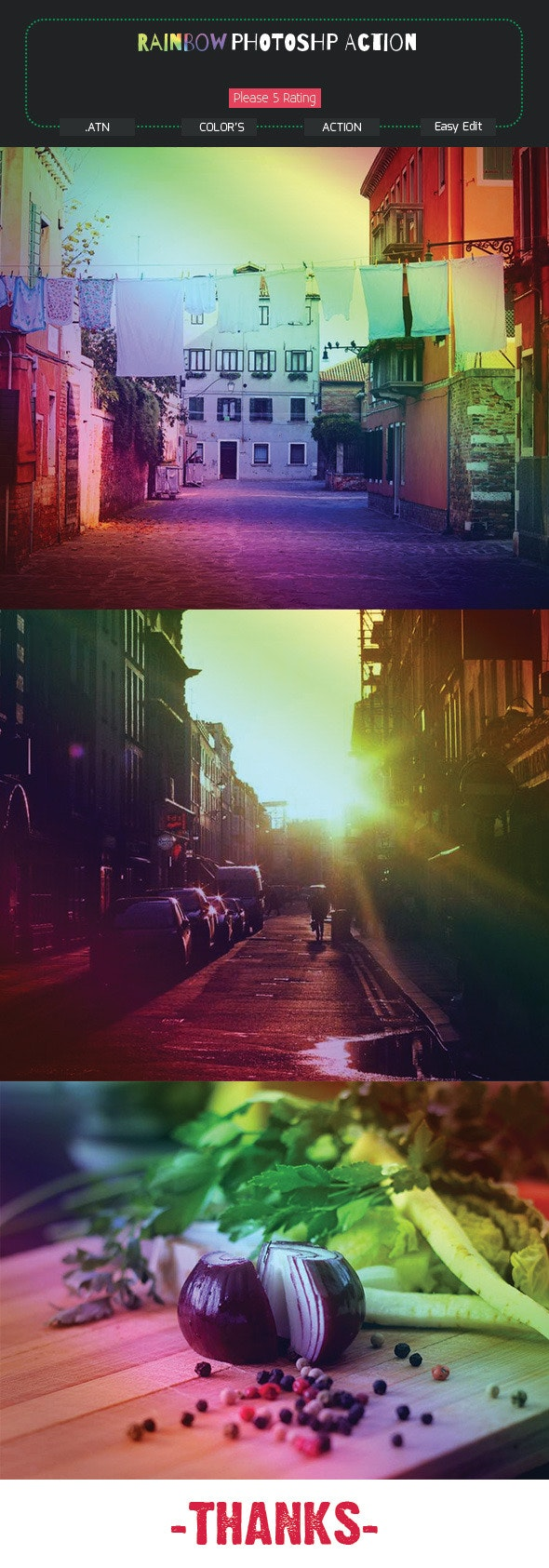 Rainbow Photoshop Action - Photo Effects Actions