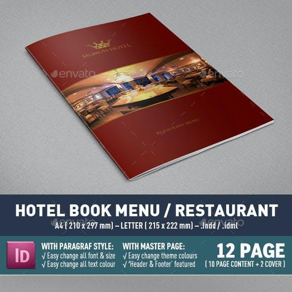 Hotel Book Menu and Restaurant