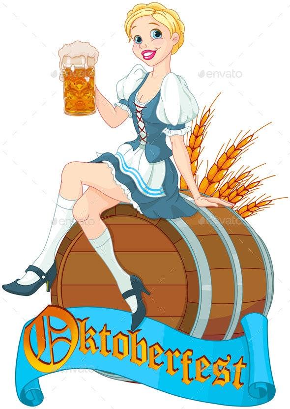 Oktoberfest Girl on the Keg  - Seasons/Holidays Conceptual