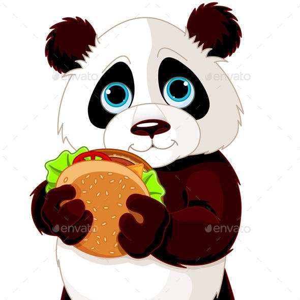 Panda Eats a Hamburger