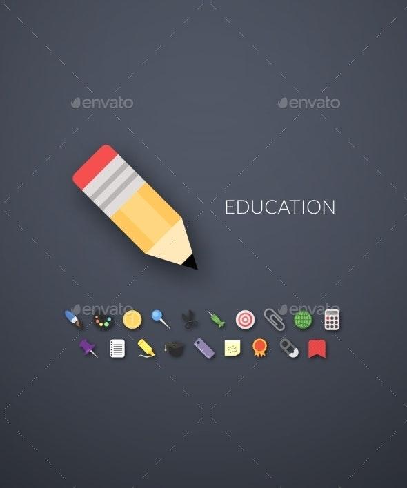 Flat Design Modern Education Icons - Web Technology