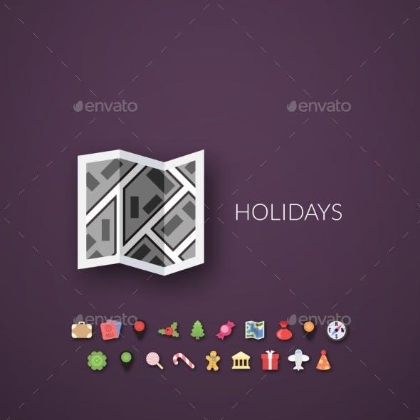 Flat Design Modern Holidays Icons