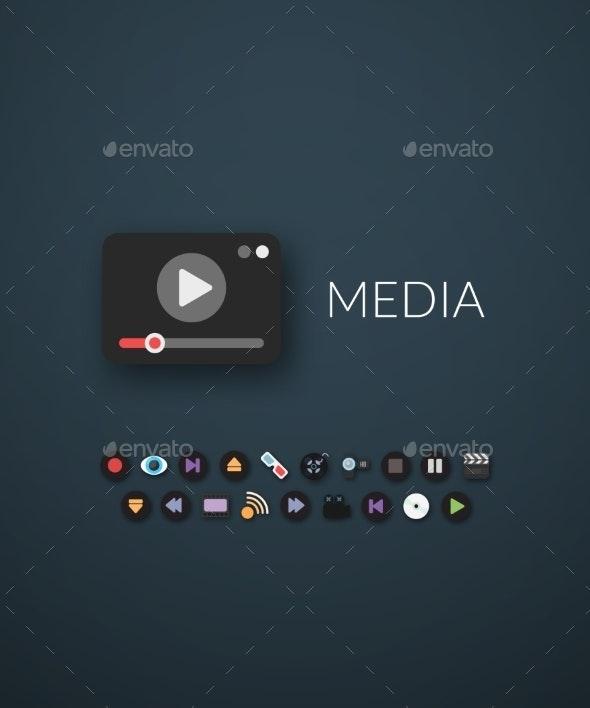 Flat Design Modern Media Icons - Web Technology