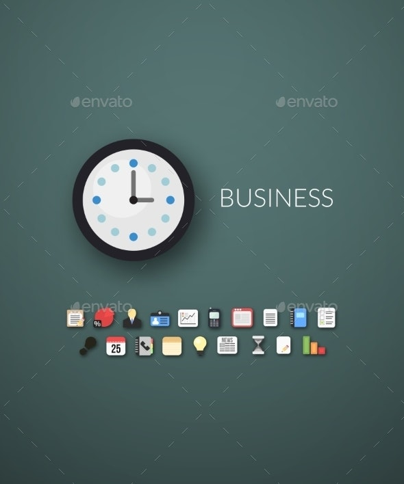 Flat Design Modern Business Icons - Web Technology