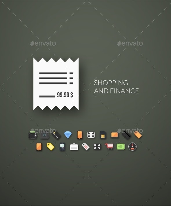 Flat Design Modern Shopping and Finance - Web Technology