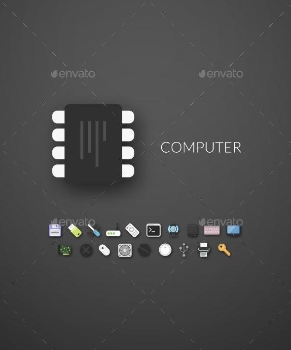 Flat Design Modern Computer Icons - Web Technology