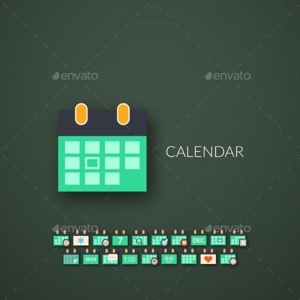 Flat Design Modern Calendar Icons