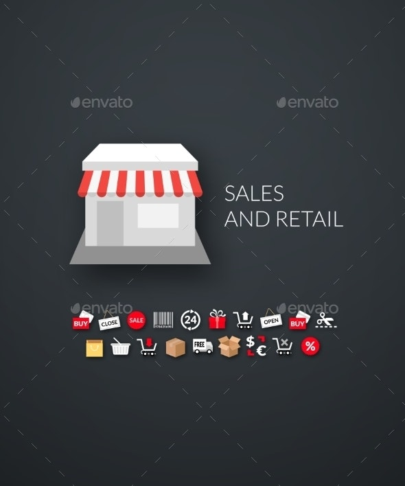 Flat Design Modern Sales and Retail Icons - Retail Commercial / Shopping