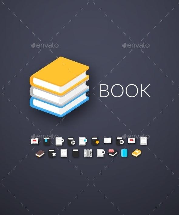 Flat Modern Design Book Icons - Web Technology