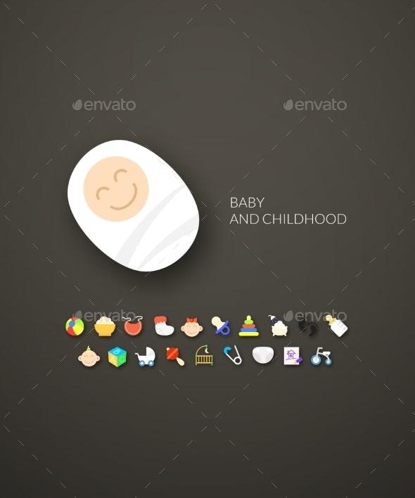 Flat Baby Icons - Web Technology