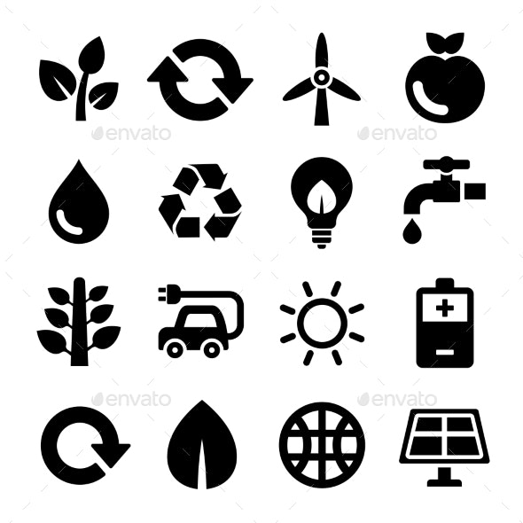 Ecology and Recycle Icons Set. Vector - Web Icons