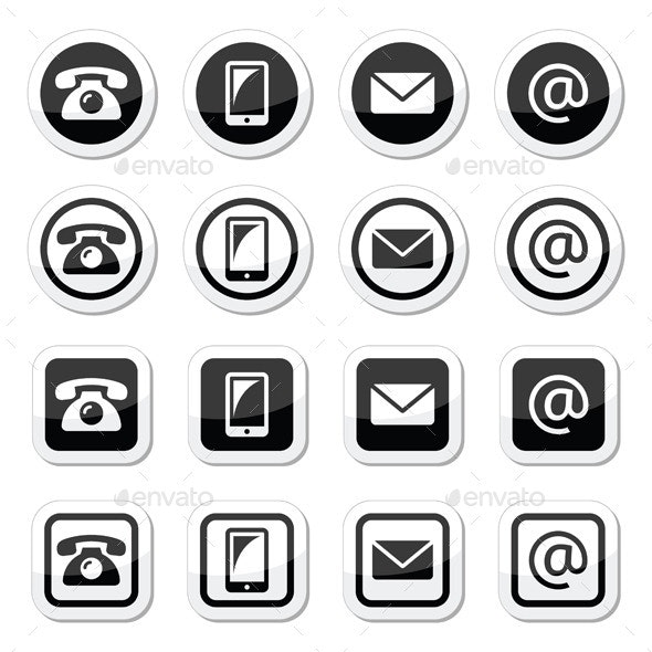 Contact Icons in Circle and Square Set - Media Technology