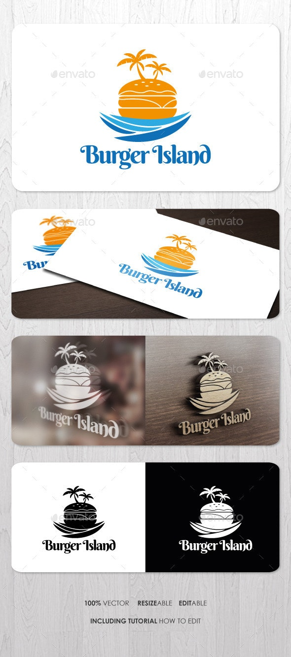Burger Island Logo - Food Logo Templates