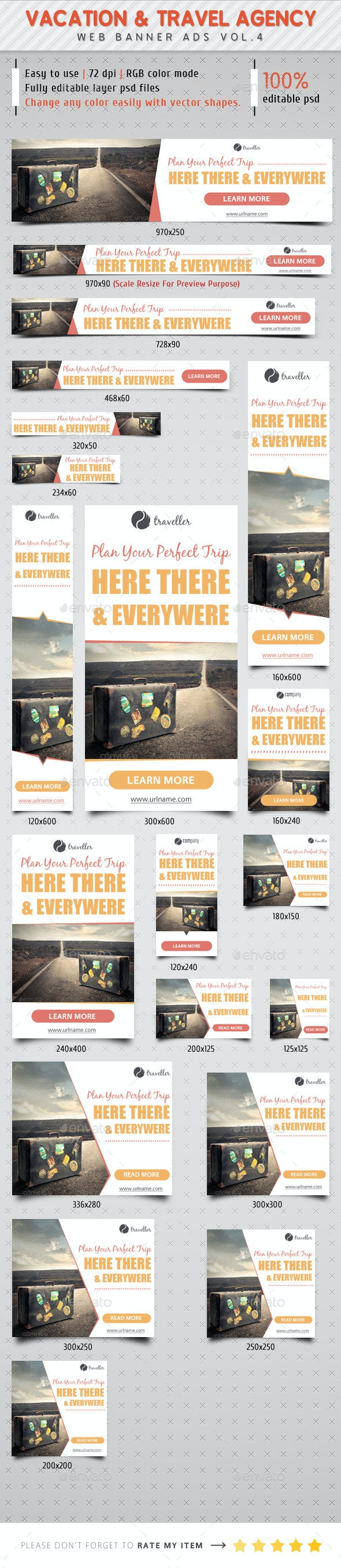 Vacation & Travel Agency Ads Vol.4 - Banners & Ads Web Elements