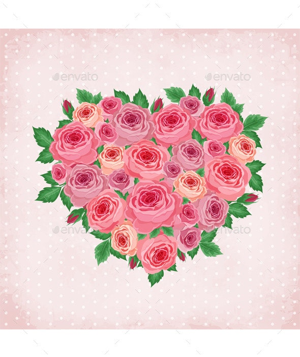 Heart of Roses on Vintage Background - Decorative Vectors