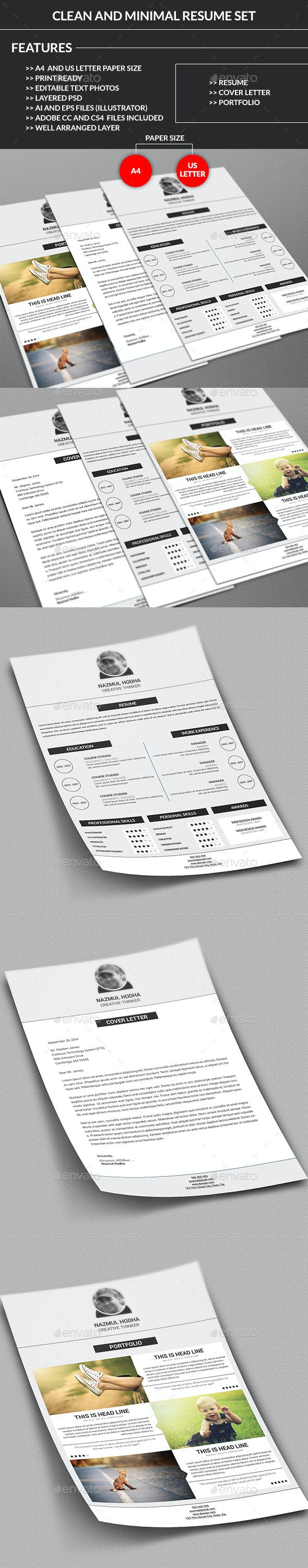 Clean and Minimal Resume Set - Resumes Stationery
