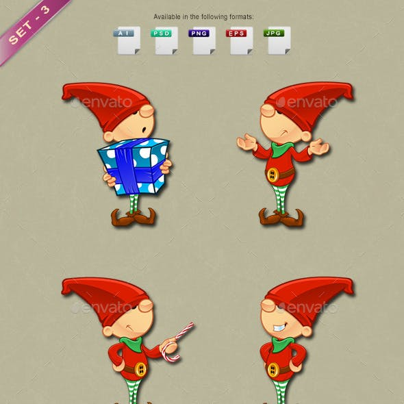 Red Elf Character - Set 3