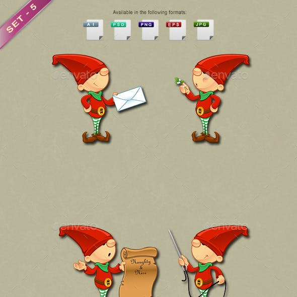 Red Elf Character - Set 5