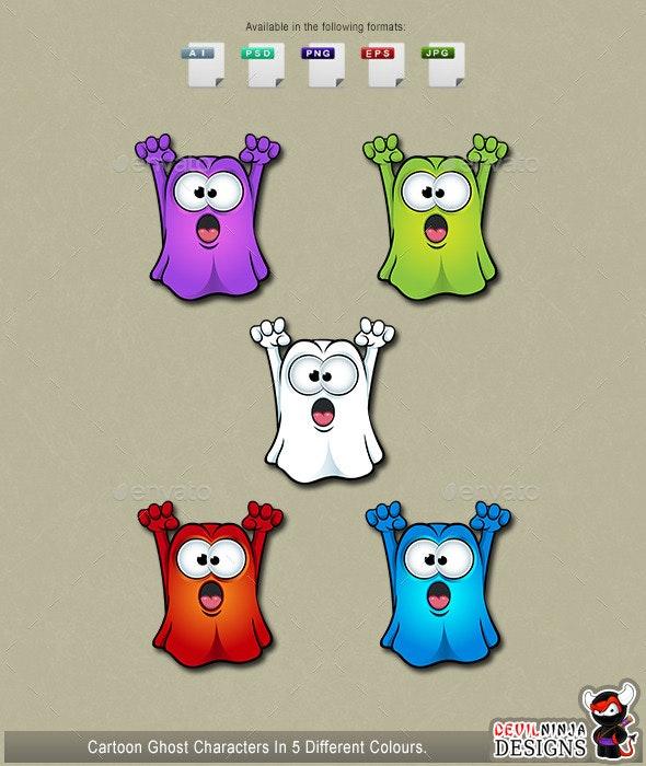 Cartoon Crossed Eyed Ghosts - Monsters Characters