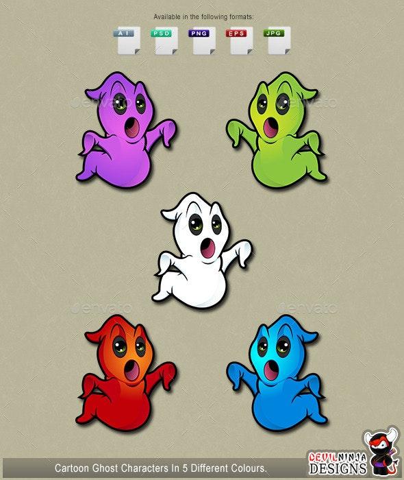 Cartoon Ghosts Looking Shocked - Monsters Characters
