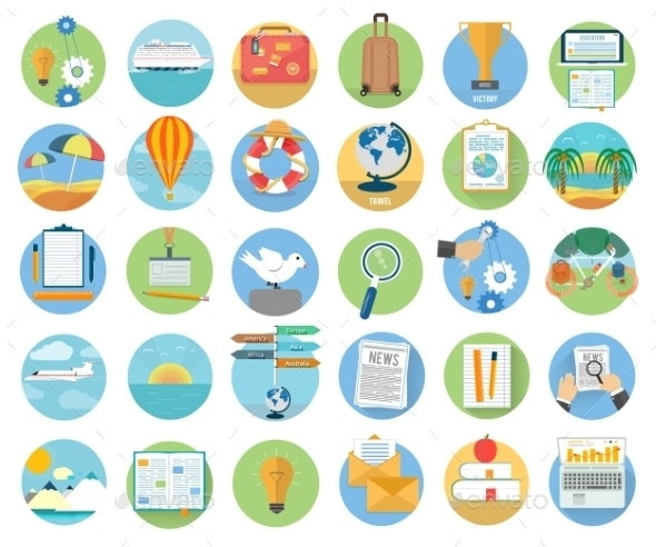 Traveling and Planning Summer Vacation Icons - Travel Conceptual