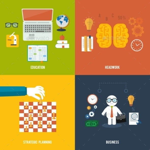 Icons for Education Headwork Strategy and Business - Concepts Business