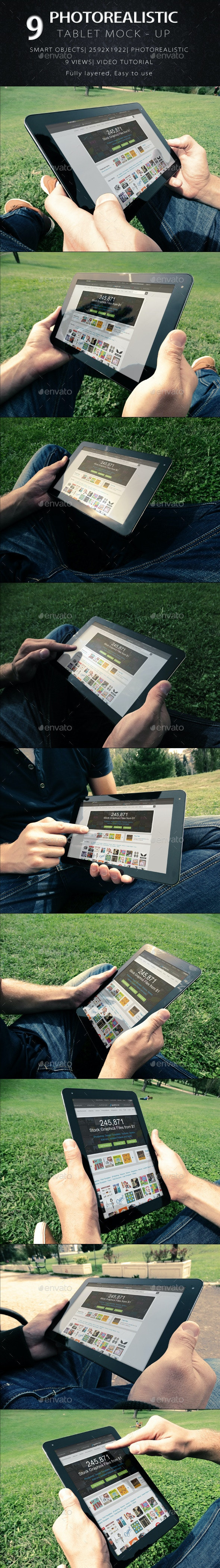 9 Photorealistic Tablet With Hands Mock-Up  - Product Mock-Ups Graphics
