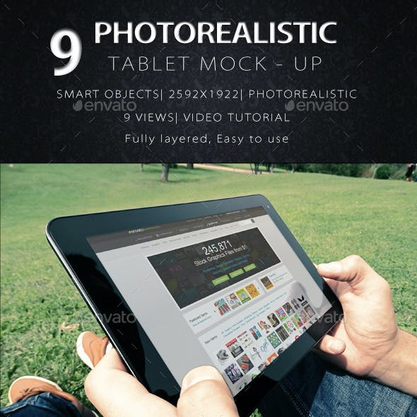 9 Photorealistic Tablet With Hands Mock-Up