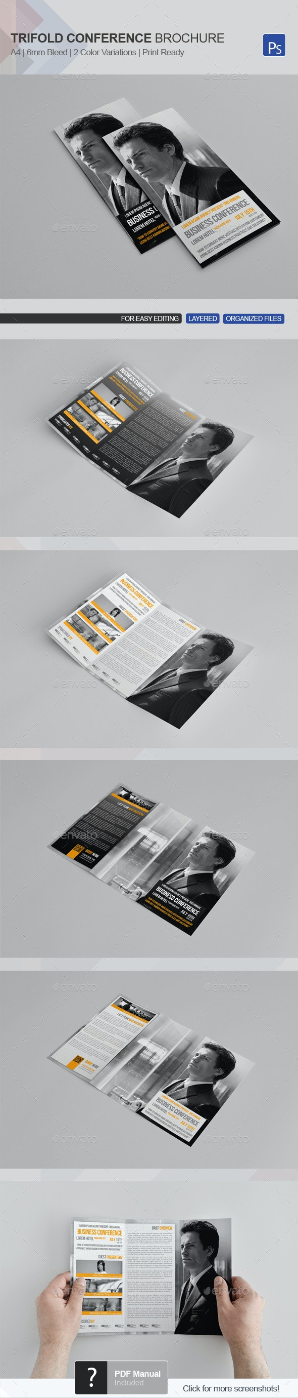 Trifold Business Conference Brochure Template - Corporate Brochures