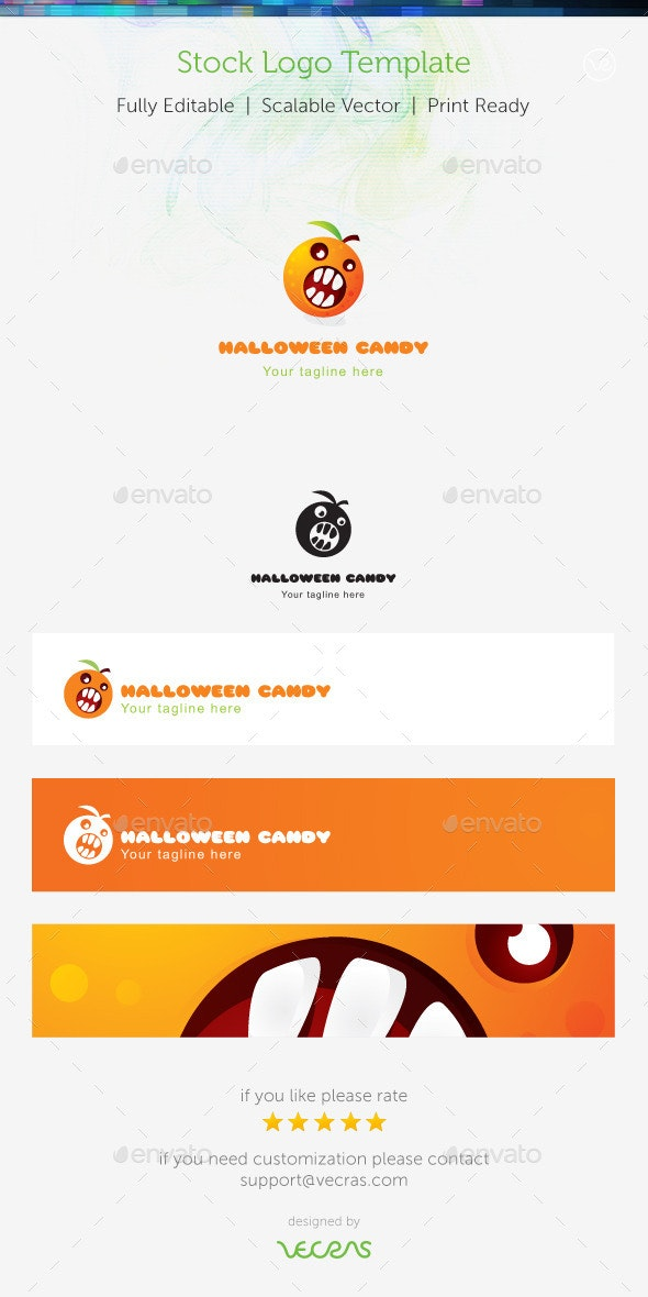 Hallowen Candy Stock Logo Template  - Food Logo Templates