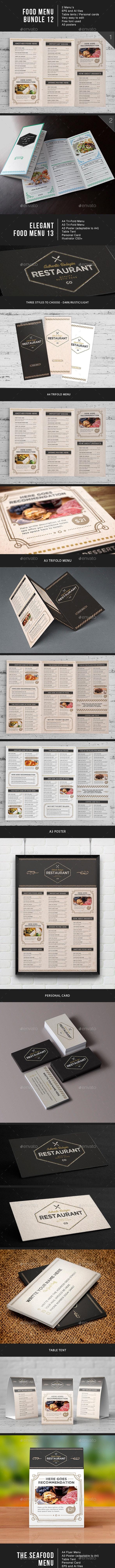 Food Menu Bundle 12 - Food Menus Print Templates