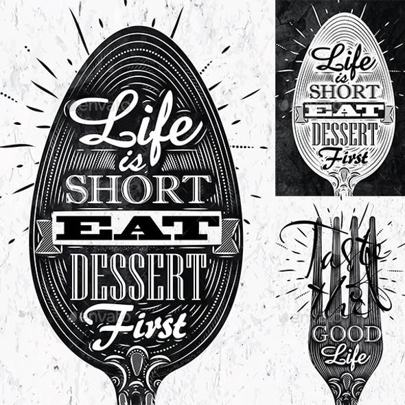 Poster spoon and fork restaurant in retro style