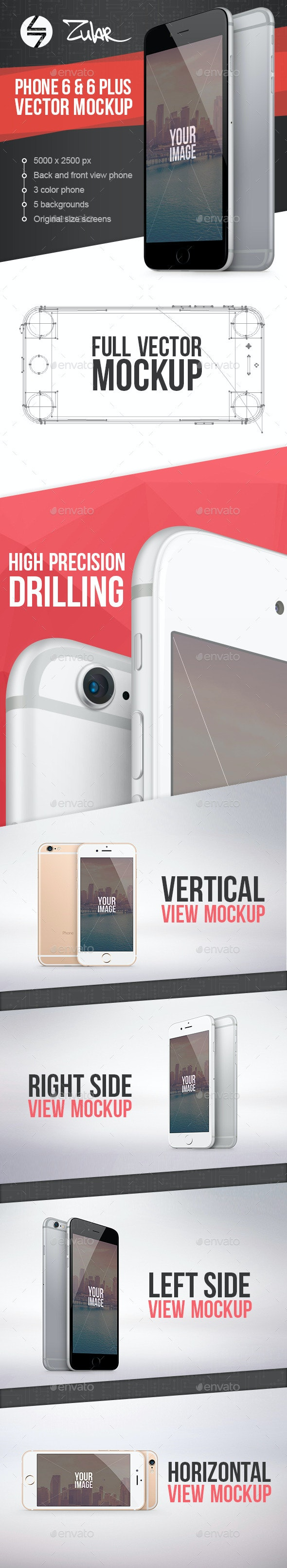 Phone 6 & 6 Plus Vector Mockup - Mobile Displays