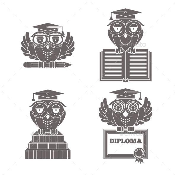 Owls in Graduation Caps Set - Miscellaneous Conceptual