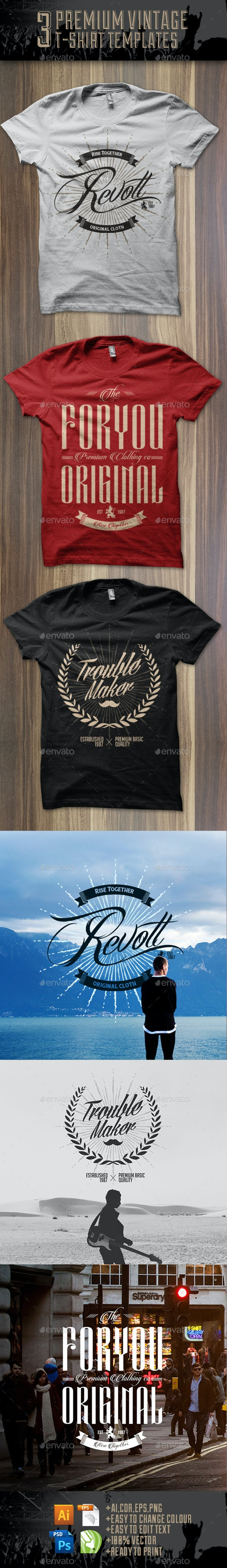 3 Premium T-Shirt Template - Grunge Designs