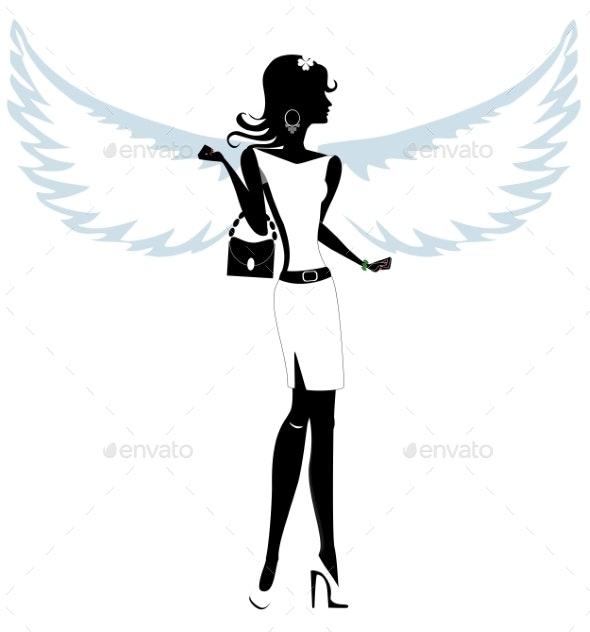 Silhouette of a Pretty Young Woman Angel - Decorative Symbols Decorative
