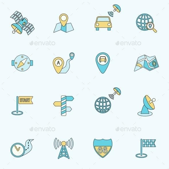 Mobile Navigation Icons Flat Line - Web Elements Vectors