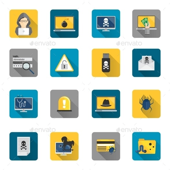 Hacker Icons Flat Buttons - Web Technology