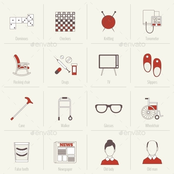 Pensioners Life Icons Flat Line - Technology Icons